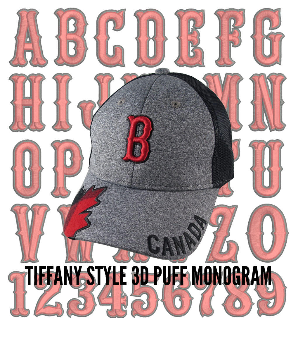 Your Custom Personalized 3D Puff Monogram Embroidery on an
