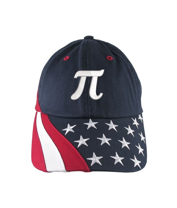 American Pi Custom Embroidery Adjustable Navy Blue Unstructured Stars and  Stripes Baseball Cap Math Teacher + 2 Personalization Options
