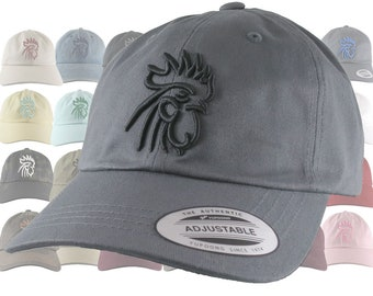 Custom 3D Puff Rooster Head Your Color Choice Embroidery on Your Selection Adjustable Unstructured Baseball Cap Dad Hat with Options
