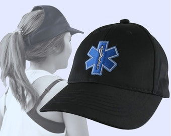 Blue Paramedic Star of Life Embroidery Design on an Adjustable Structured Black Ponytail Hairdo Women Open Fashion Baseball Cap