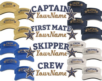 Custom Personalized Your Name on Captain First Mate Skipper Deckhand Crew Stars Embroidery on Your Selection of Adjustable Visor Cap Sun Hat