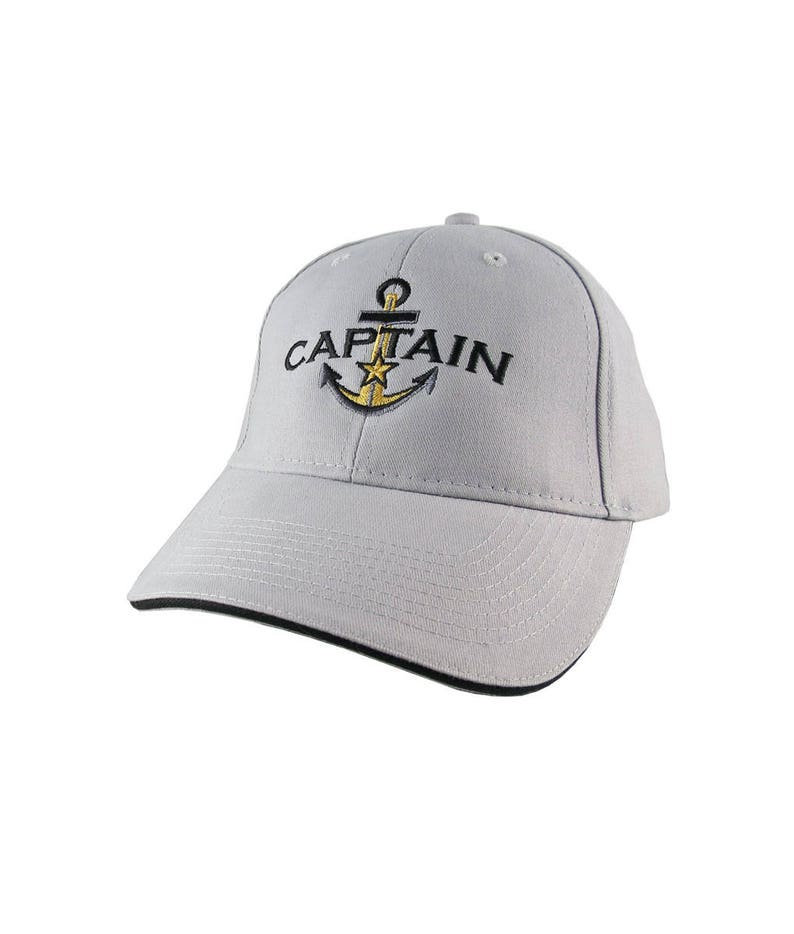 05f5bd7f3 Personalized Captain Star Anchor Embroidery Adjustable Silver and Black  Structured Fashion Baseball Cap + Options to Personalize Side Back