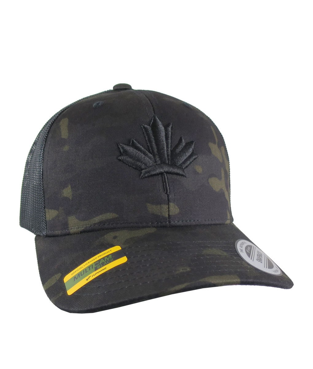 cfb8350bcab88 3D Puff Black Maple Leaf Raised Embroidery on an Adjustable Black Multicam  Structured Premium Mid-Profile Yupoong Trucker Mesh Cap