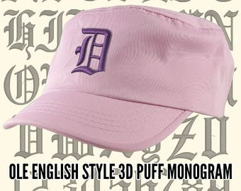 Your Custom Personalized 3D Puff Ole English Monogram Embroidery on an Adjustable Pink Unstructured Fashion Army Military Cadet Cap