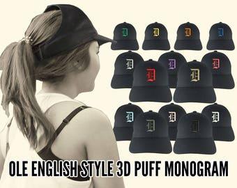 Your Custom Personalized 3D Puff Ole English Monogram Embroidery Adjustable Black Structured Ponytail Hairdo Women Fashion Open Baseball Cap
