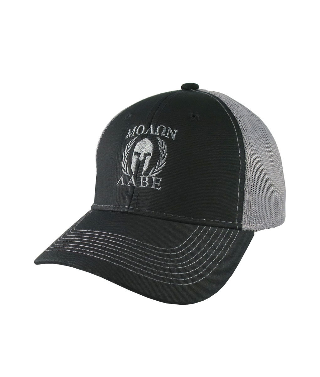 b6934861 Molon Labe Roman Spartan Warrior Mask in Laurels Silver Embroidery on an  Adjustable Black Structured Truckers Style Snapback Ball Cap