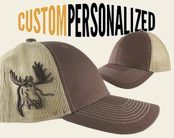 Custom Personalized Moose 3D Puff Embroidery on an Adjustable Full Fit Brown Trucker Mesh Cap with Your Choice of Front Decors Hunting Hat