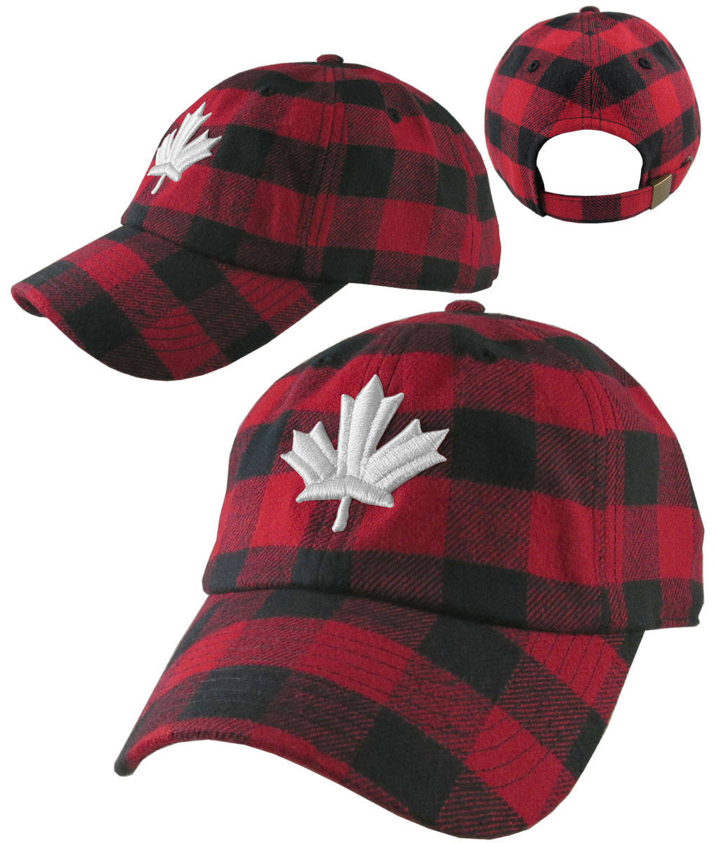beff89a2aee Canadian White Maple Leaf 3D Puff Embroidery Red and Black Buffalo Check  Plaid Soft Structured Fashion Baseball Cap Dad Hat Style Lumberjack
