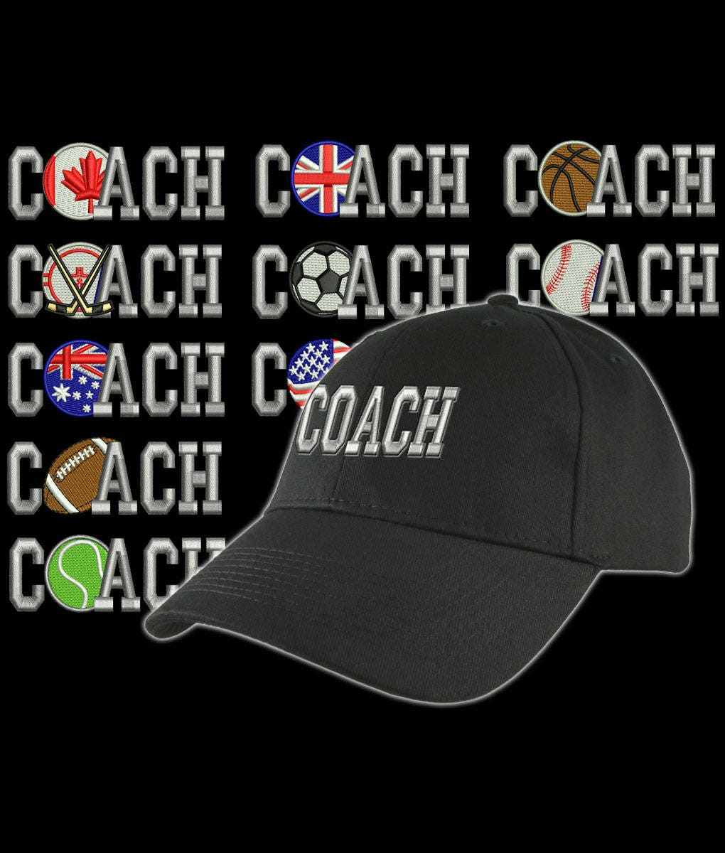 7c7555be Custom Personalized Coach Embroidery on an Adjustable Structured Black Baseball  Cap Front Decor Selection with Options for Side and Back
