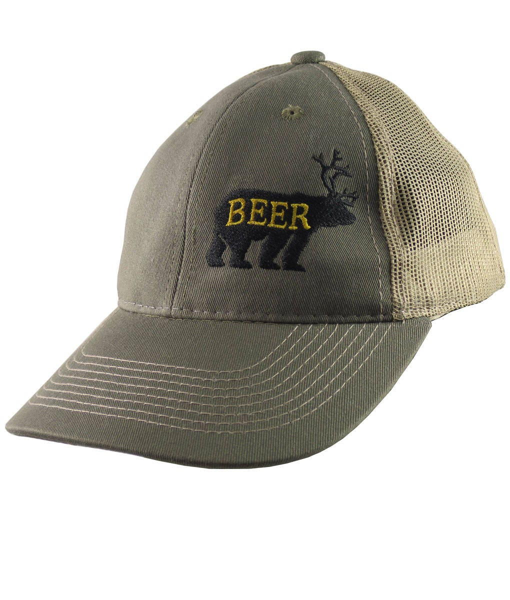 8825382005f Deer Plus Bear for Beer Humorous Black Embroidery on an Adjustable Olive  Green and Tan Structured Truckers Style Snapback Ball Cap