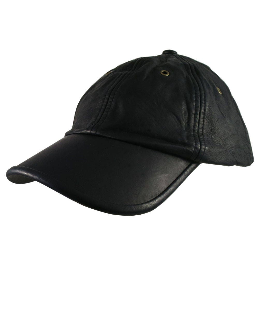 e47df5042f8 Genuine Black Leather Low Profile Adjustable Fashion Baseball Cap Dad Hat  Made in Canada