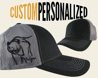 Custom Personalized Black Bear 3D Puff Embroidery on an Adjustable Full Fit Black Trucker Cap with Your Choice of Front Decors Hunting Hat