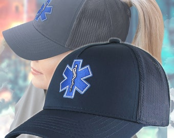 Blue Paramedic Star of Life Embroidery Design on an Adjustable Structured Navy Blue Ponytail Hairdo Women Trucker Style Soft Mesh Cap