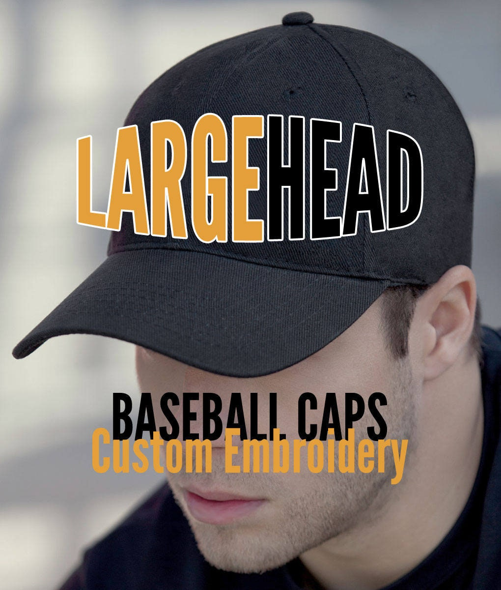 b0e98cbbc27 Large Size Head Custom Embroidery on an Oversize Adjustable Structured Full  Fit Classic Black or Navy Baseball Cap + Personalization Options