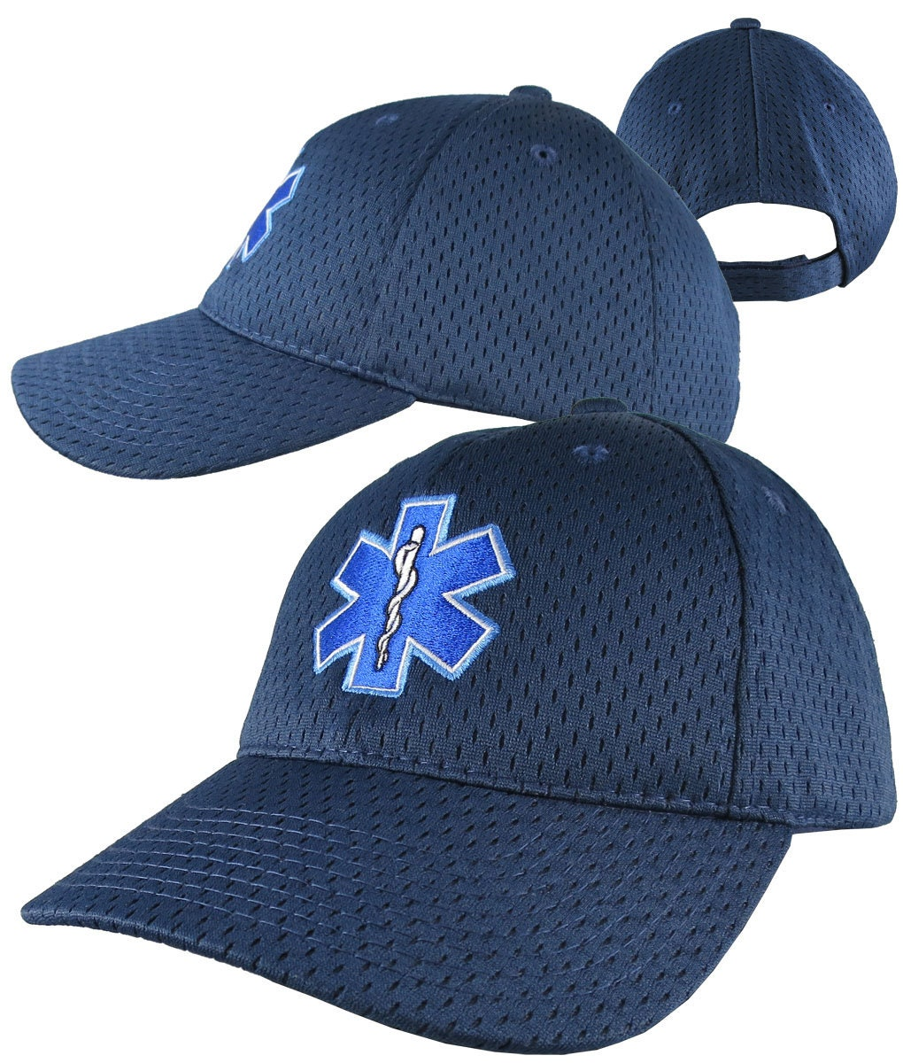 03b35494a74 Paramedic EMT EMS Star of Life Embroidery on Adjustable Navy Blue  Structured Premium Baseball Cap with Options to Personalize Two Locations