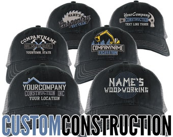 Personalized Custom Construction Renovation Contractor Carpenter Builder Embroidery on an Adjustable Black and Silver Unstructured Mesh Cap