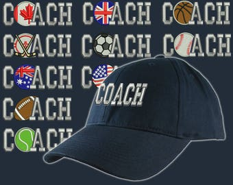 Custom Personalized Coach Embroidery on an Adjustable Structured Navy Blue Baseball Cap Front Decor Selection with Options for Side and Back