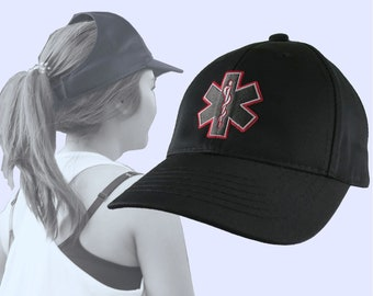 Red Paramedic Star of Life Embroidery Design on an Adjustable Structured Black Ponytail Hairdo Women Open Fashion Baseball Cap