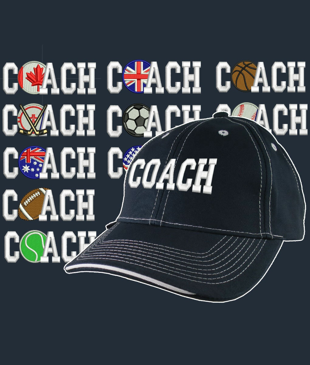 250c89c38 Custom Personalized Coach Embroidery on Adjustable Structured Navy ...