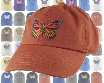 Custom Large Colorful Monarch Butterfly Embroidery on an Adjustable Unstructured Dad Hat Style Baseball Cap 16 Hat Colors Selection