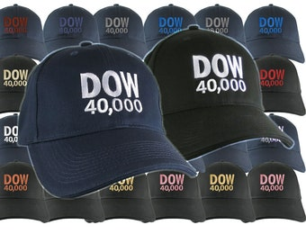 NYSE Hat Dow 40000 Stock Broker Custom Embroidery Adjustable Navy or Black Soft Structured Classic Baseball Cap + Personalization Options