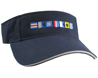 Captain Spelled Out in Nautical Flags Embroidery on an Adjustable Navy Blue Brushed Cotton Twill Visor Sun Hat