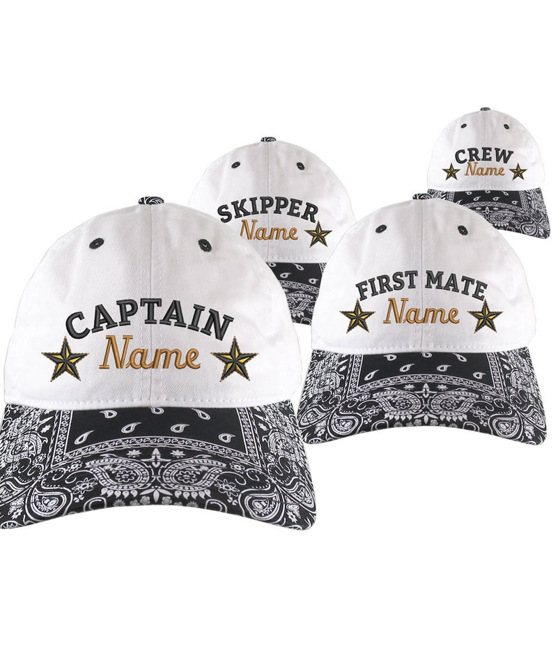 4fbe0e4b1 Custom Personalized Captain First Mate Skipper Crew Embroidery on a Black  Bandanna Adjustable Unstructured Baseball Cap Dad Hat + Option