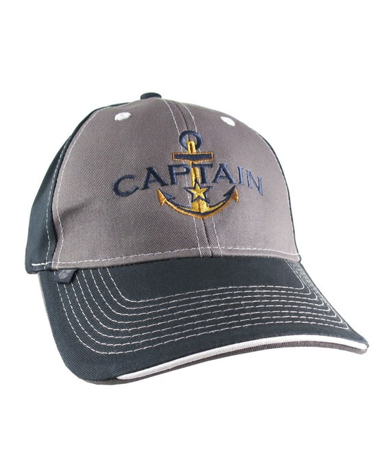 e9f0d5002 Nautical Star Golden Anchor Boat Captain Embroidery on an Adjustable  Charcoal and Navy Structured Baseball Cap with Options to Personalize