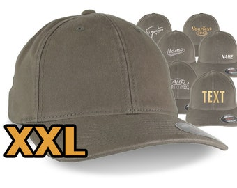 Custom Embroidery on an Oversized Large Head Double XL Fitted Unstructured XXL Yupoong Drab Olive Baseball Cap with Personalization Options