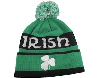 St-Patrick's Irish Shamrock White Embroidery on an Green and Black Pom Pom Beanie