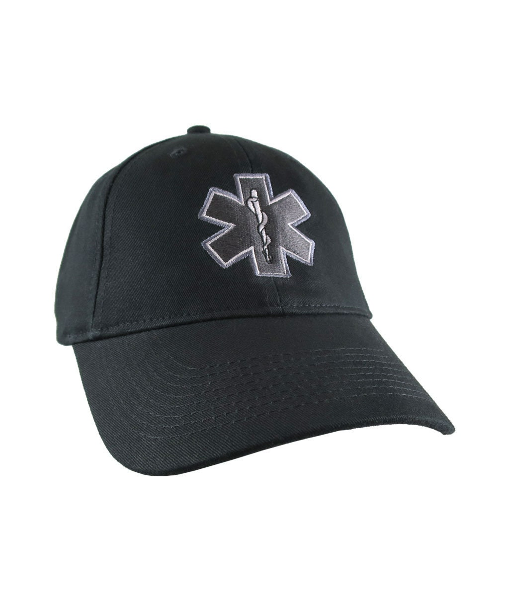 aafb7263fed Paramedic EMT EMS Star of Life Embroidery on Adjustable Black Structured  Premium Baseball Cap with Options to Personalize on Two Locations