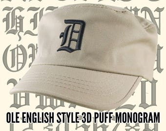 Your Custom Personalized 3D Puff Ole English Monogram Embroidery on an Adjustable Stone Beige Unstructured Fashion Army Military Cadet Cap