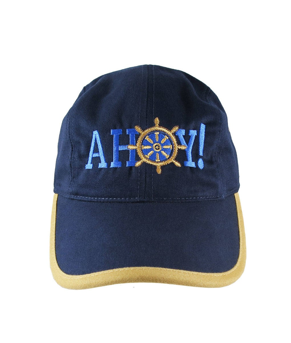 7c272e1998a Nautical Boat Wheel Greeting Embroidery on a Polo Style 5 Panel Adjustable  Mango and Navy Unstructured Cap for the Boating Enthusiast