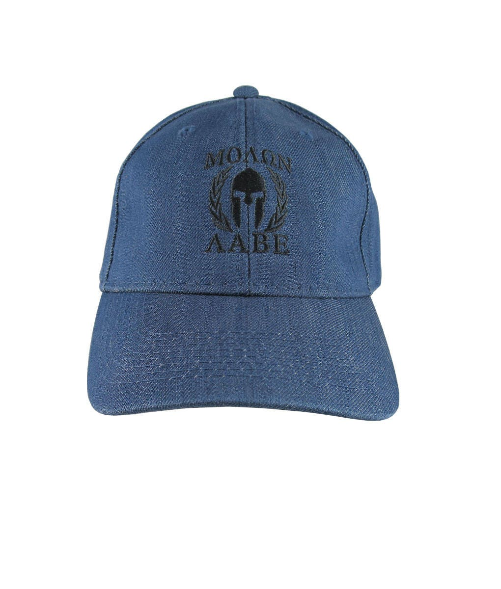 ddbe2035 Molon Labe Spartan Warrior Mask in Laurels Black Embroidery on an  Adjustable Blue Denim Structured Baseball Cap