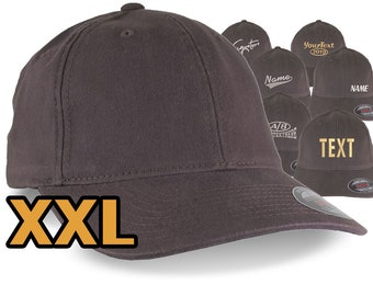 Custom Embroidery on an Oversized Large Head Double XL Fitted Unstructured XXL Yupoong Brown Baseball Cap with Personalization Options