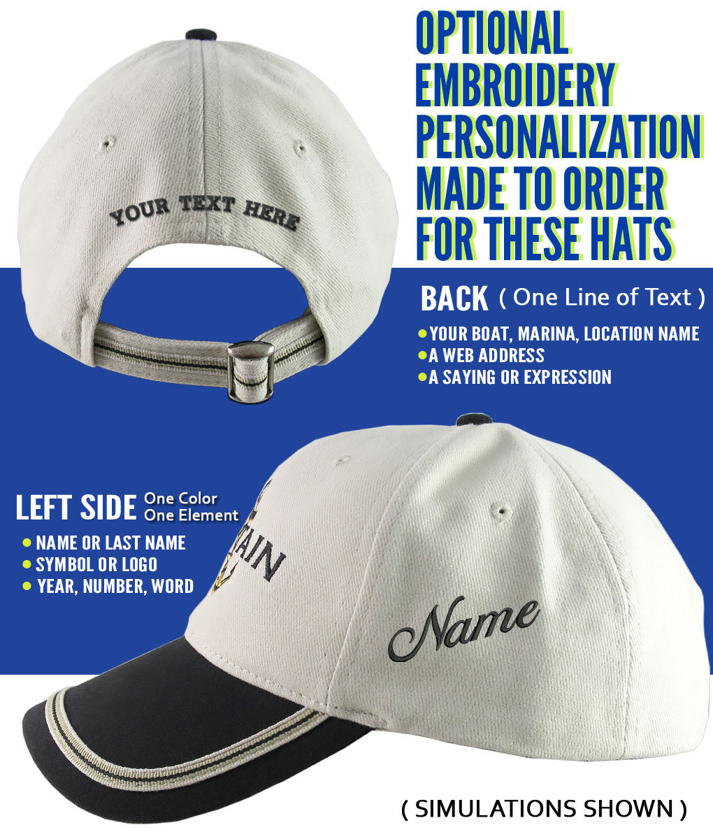 f89ea01f7cde0 Nautical Star Anchor Captain and Crew Embroidery Adjustable Black and Beige  Structured Baseball Cap Options to Personalize Boat Name