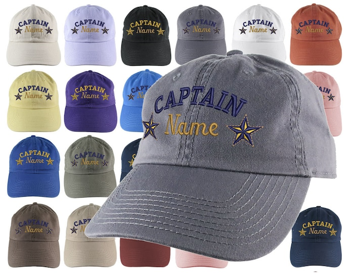 Featured listing image: Custom Personalized Captain First Mate Skipper Deckhand Crew Embroidery Your Selection Adjustable Unstructured Baseball Cap Dad Hat + Option