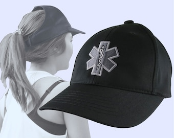 Silver Paramedic Star of Life Embroidery Design on an Adjustable Structured Black Ponytail Hairdo Women Open Fashion Baseball Cap