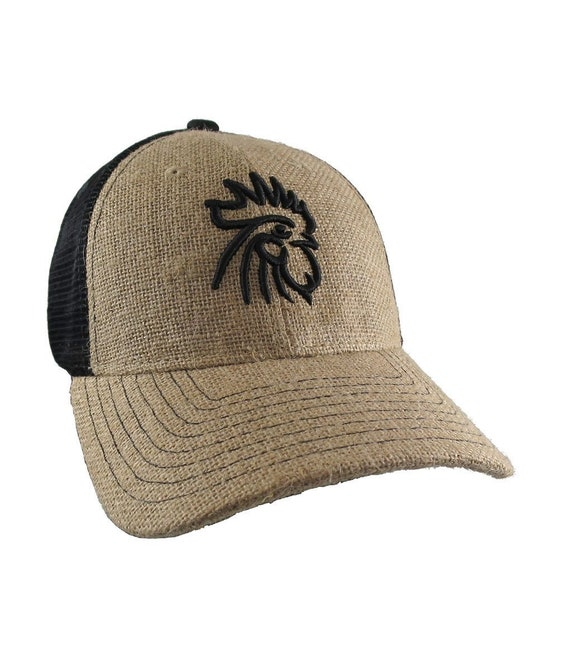 a8727ecd3ba Rooster 3D Puff Black Embroidery on an Adjustable Natural