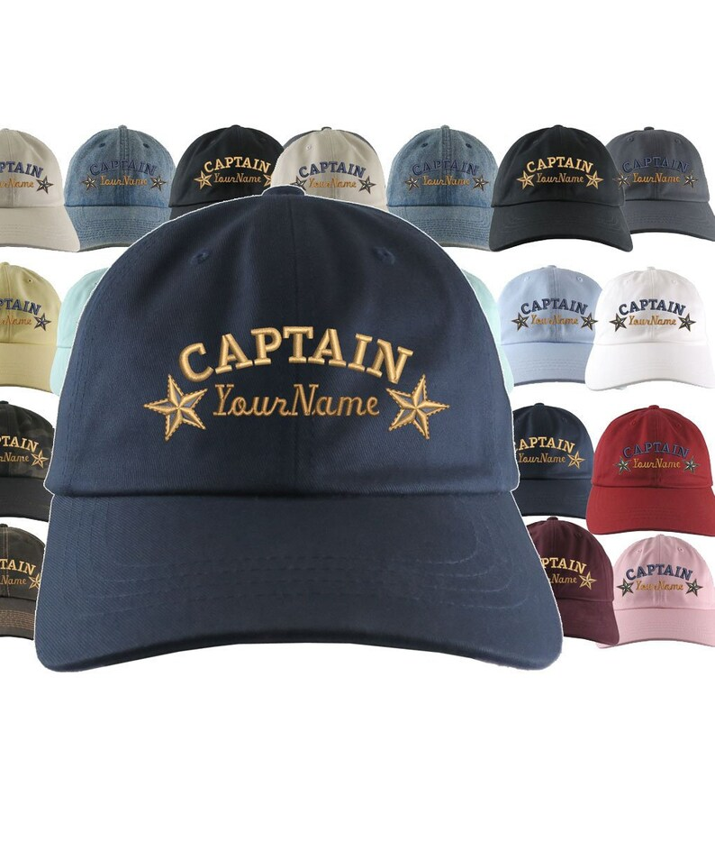 7dc23d775 Custom Personalized Captain First Mate Skipper Crew Embroidery on a  Selection of 21 Adjustable Unstructured Baseball Caps Dad Hat + Option