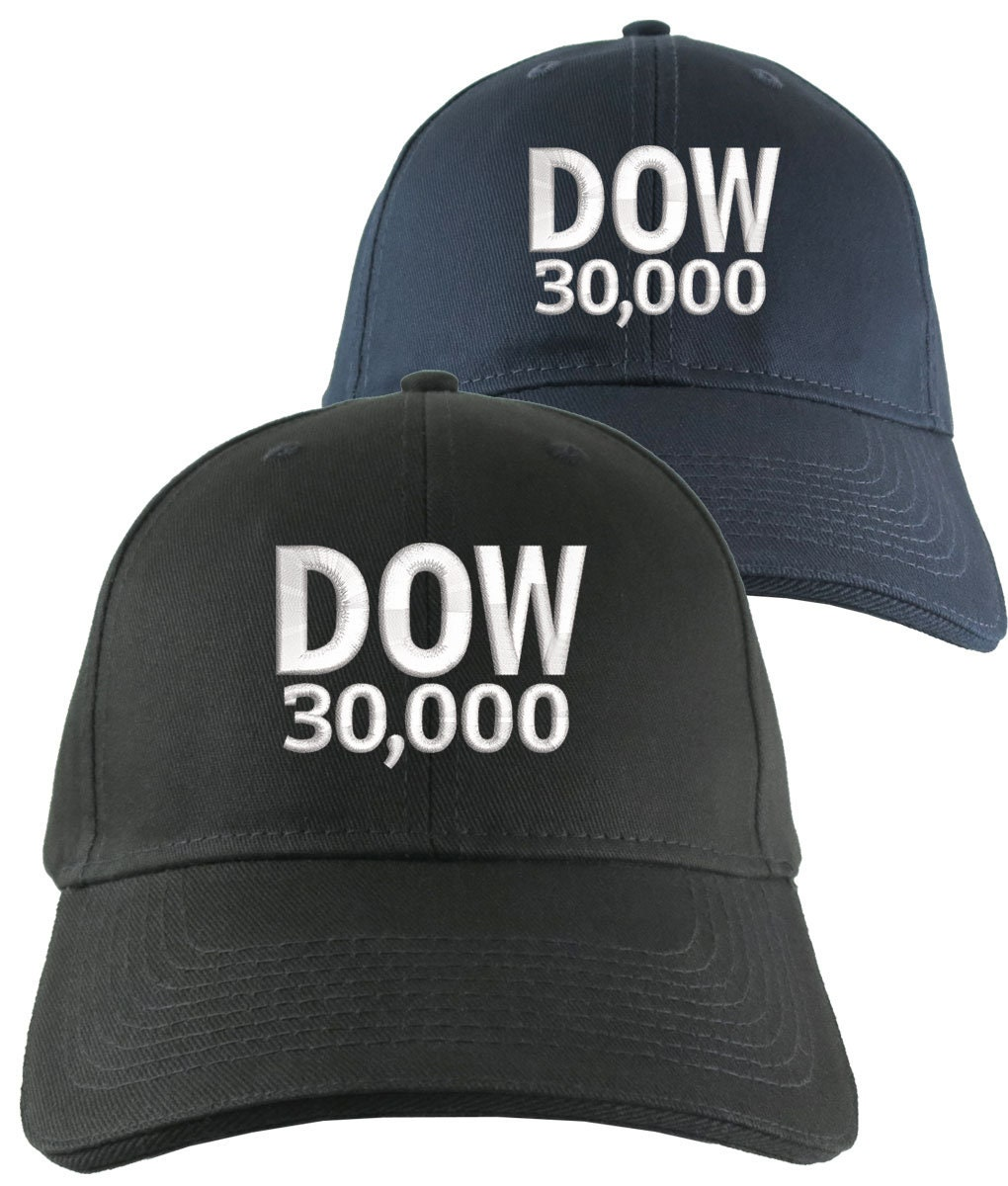 b28232de NYSE Hat Dow 30000 Stock Broker Custom Embroidery Adjustable Navy or Black  Soft Structured Classic Baseball Cap + Personalization Options