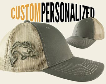 Custom Personalized Walleye 3D Puff Embroidery on an Adjustable Full Fit Olive Green Trucker Cap and Your Choice of Front Decors Fishing Hat