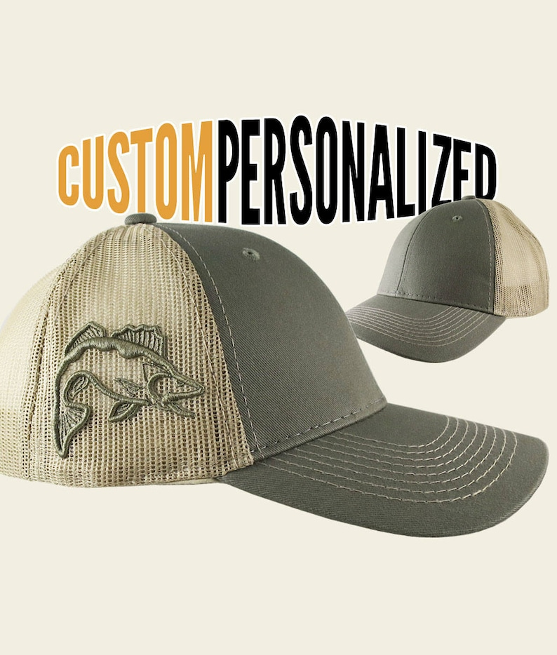 8d5f21b4968b7 Custom Personalized Walleye 3D Puff Embroidery on an