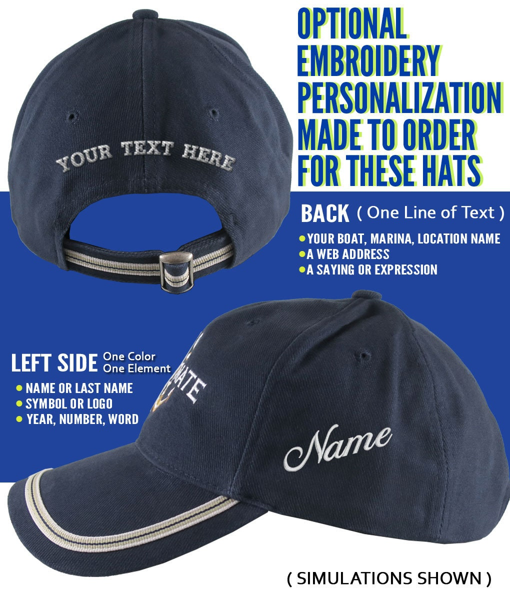 308bcc1fb53ff Nautical Star Anchor Captain and Crew Embroidery Adjustable Navy Blue Soft  Structured Baseball Cap with Options to Personalize Boat Name