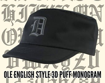 Your Custom Personalized 3D Puff Ole English Monogram Embroidery on an Adjustable Black Unstructured Fashion Army Military Cadet Cap