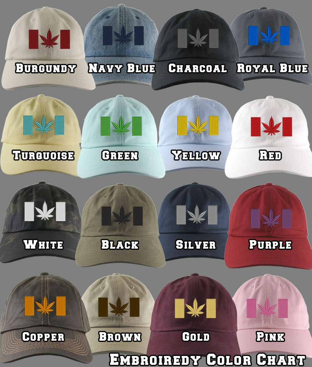 60a37a8d4d0 Canadian Cannabis Flag Your Color Choice Embroidery Your Selection of an  Adjustable Unstructured Baseball Cap Dad Hat Style Canada + Option
