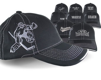 Custom Embroidery Options on an Adjustable Structured Classic Hockey Goal Tender Goalie Black Baseball Cap with Personalization Options