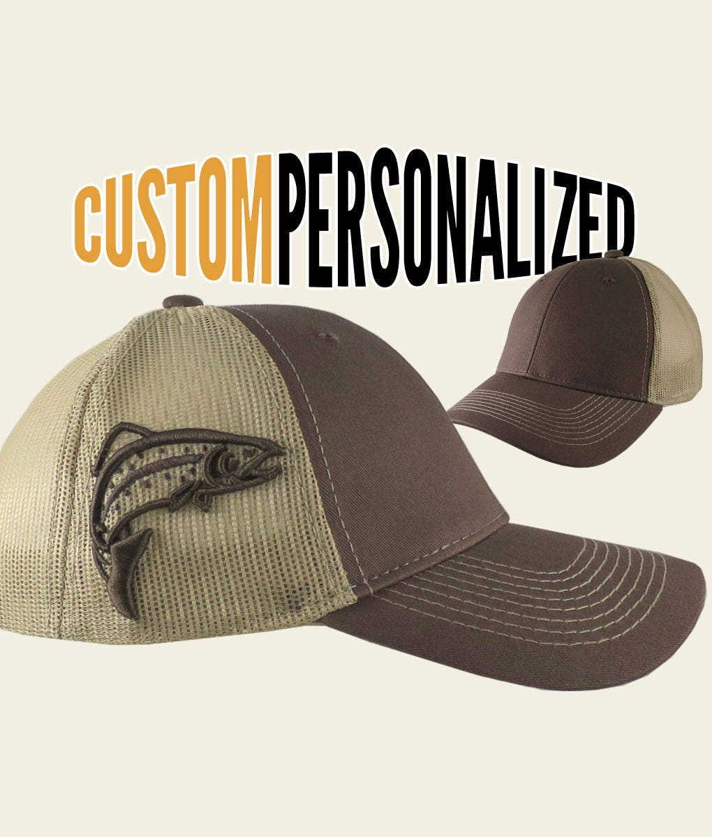 483e0830f2f92 Custom Personalized Trout 3D Puff Raised Embroidery on an Adjustable Full  Fit Brown Trucker Cap and Your Choice of Front Decors Fishing Hat