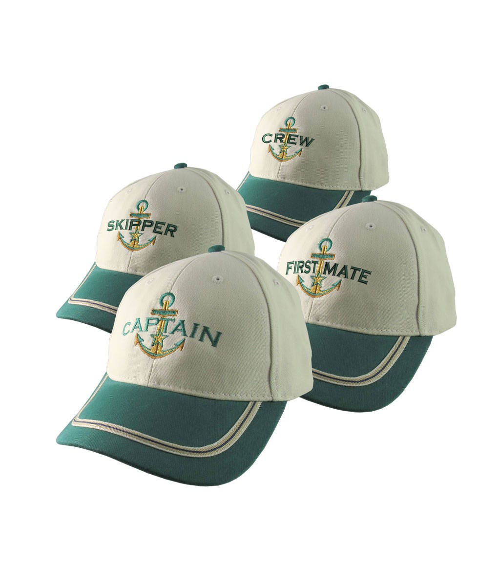 fcea1ad209301 Nautical Star Anchor Captain and Crew Embroidery Adjustable Emerald Green  and Beige Structured Baseball Cap Options to Personalize Boat Name