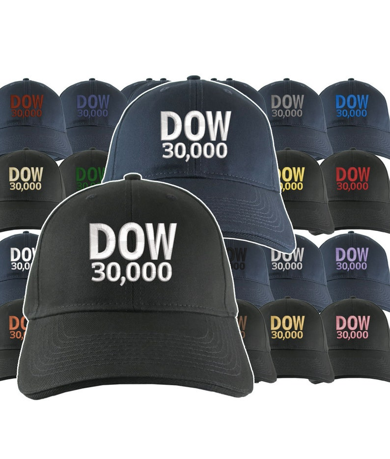 38a346ae7 NYSE Hat Dow 30000 Stock Broker Custom Embroidery Adjustable Navy or Black  Soft Structured Classic Baseball Cap + Personalization Options